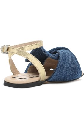 Детские текстильные сандалии с кожаным ремешком и бантом NO. 21 синего цвета, арт. 54606/28-35 | Фото 3