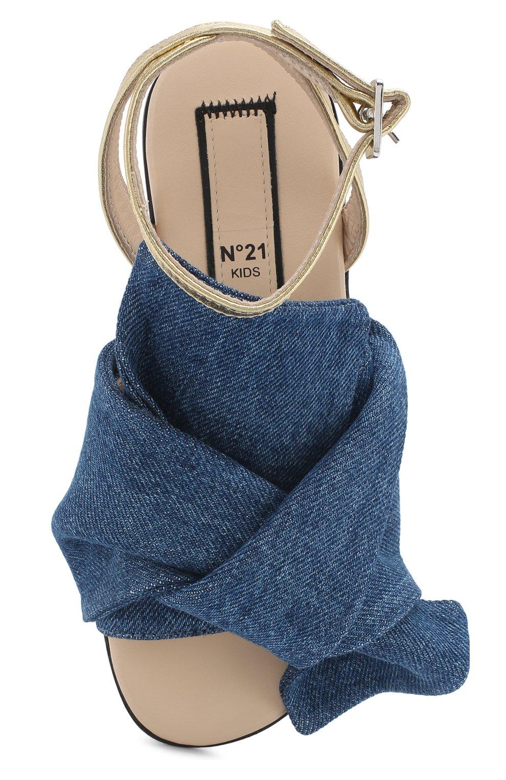 Детские текстильные сандалии с кожаным ремешком и бантом NO. 21 синего цвета, арт. 54606/28-35 | Фото 4