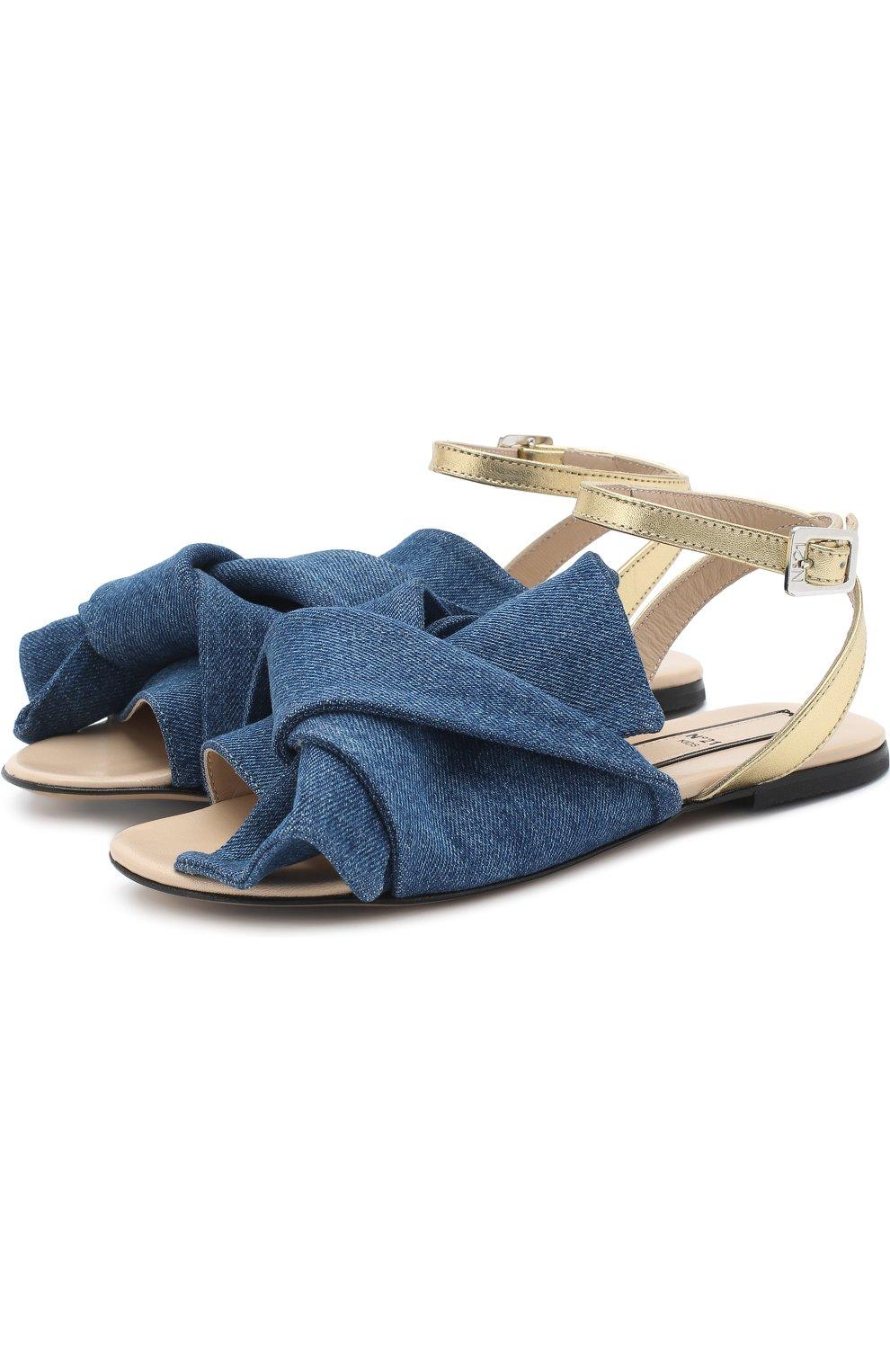 Детские текстильные сандалии с кожаным ремешком и бантом NO. 21 синего цвета, арт. 54606/36-41 | Фото 1