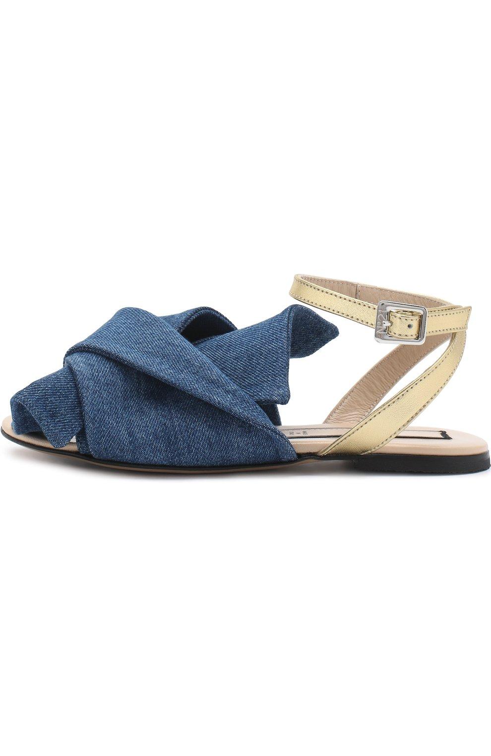 Детские текстильные сандалии с кожаным ремешком и бантом NO. 21 синего цвета, арт. 54606/36-41 | Фото 2