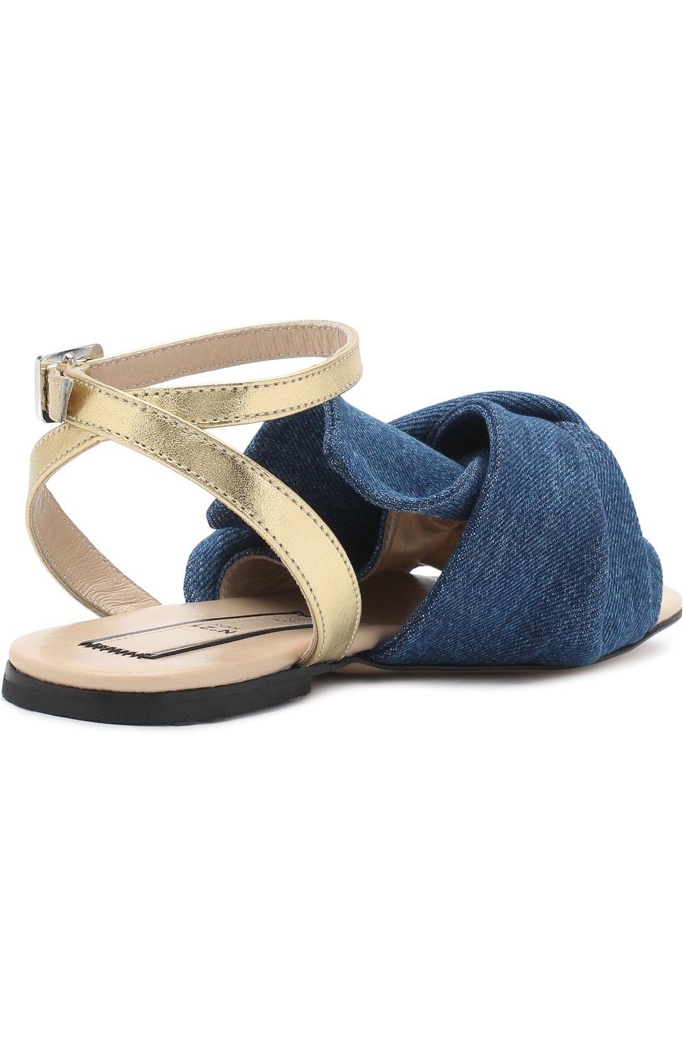 Детские текстильные сандалии с кожаным ремешком и бантом NO. 21 синего цвета, арт. 54606/36-41 | Фото 3