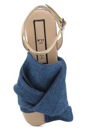 Детские текстильные сандалии с кожаным ремешком и бантом NO. 21 синего цвета, арт. 54606/36-41 | Фото 4