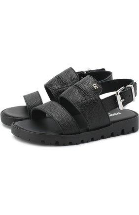 Детские кожаные сандалии на ремешке DSQUARED2 черного цвета, арт. 54194/28-35 | Фото 1