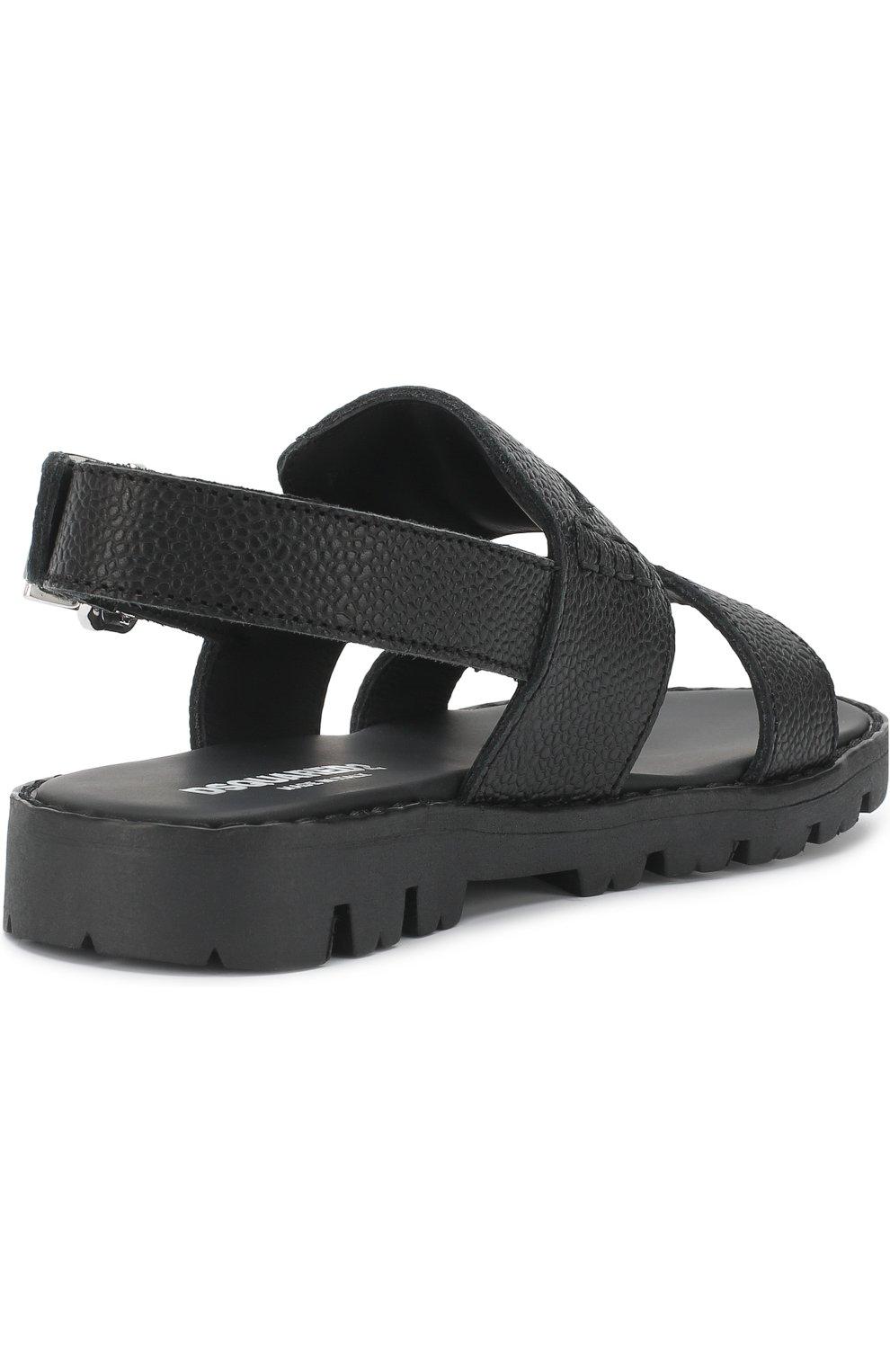 Детские кожаные сандалии на ремешке DSQUARED2 черного цвета, арт. 54194/28-35 | Фото 3