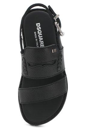 Детские кожаные сандалии на ремешке DSQUARED2 черного цвета, арт. 54194/28-35 | Фото 4