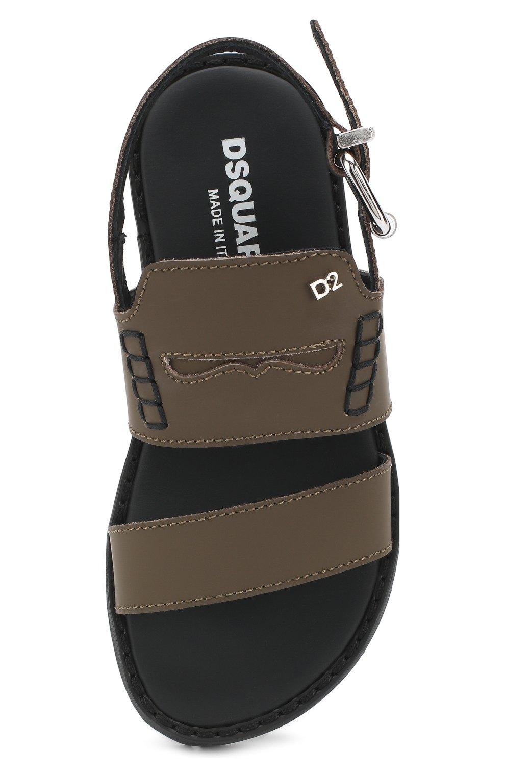 Детские кожаные сандалии на ремешке DSQUARED2 хаки цвета, арт. 54194/28-35   Фото 4