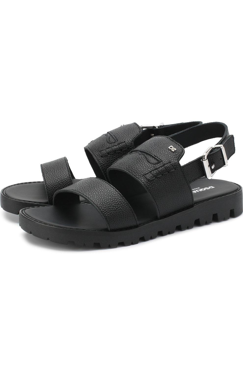 Детские кожаные сандалии на ремешке DSQUARED2 черного цвета, арт. 54194/36-41 | Фото 1