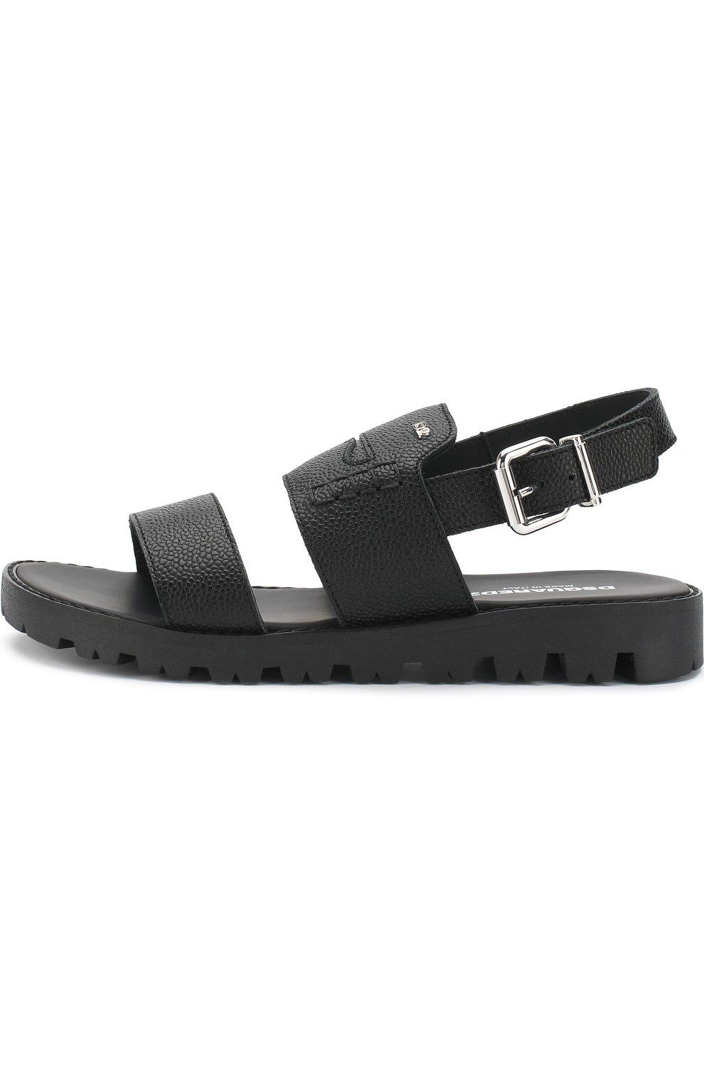 Детские кожаные сандалии на ремешке DSQUARED2 черного цвета, арт. 54194/36-41 | Фото 2