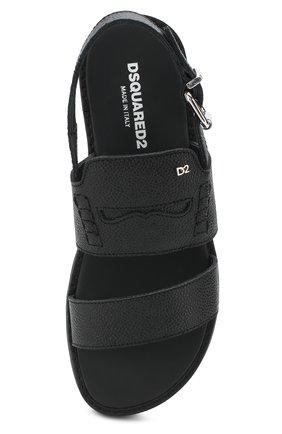 Детские кожаные сандалии на ремешке DSQUARED2 черного цвета, арт. 54194/36-41 | Фото 4