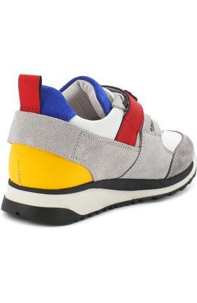 Детские кожаные кроссовки с замшевой отделкой и застежкой велькро DSQUARED2 серого цвета, арт. 54221/28-35 | Фото 3