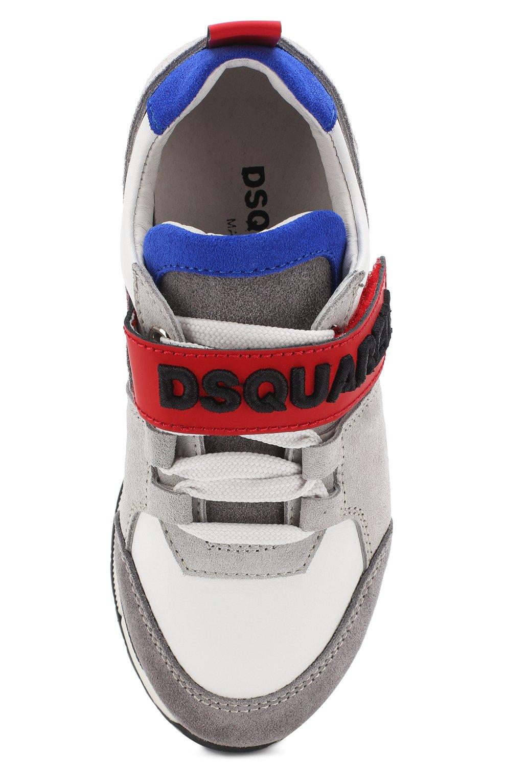 Детские кожаные кроссовки с замшевой отделкой и застежкой велькро DSQUARED2 серого цвета, арт. 54221/28-35 | Фото 4