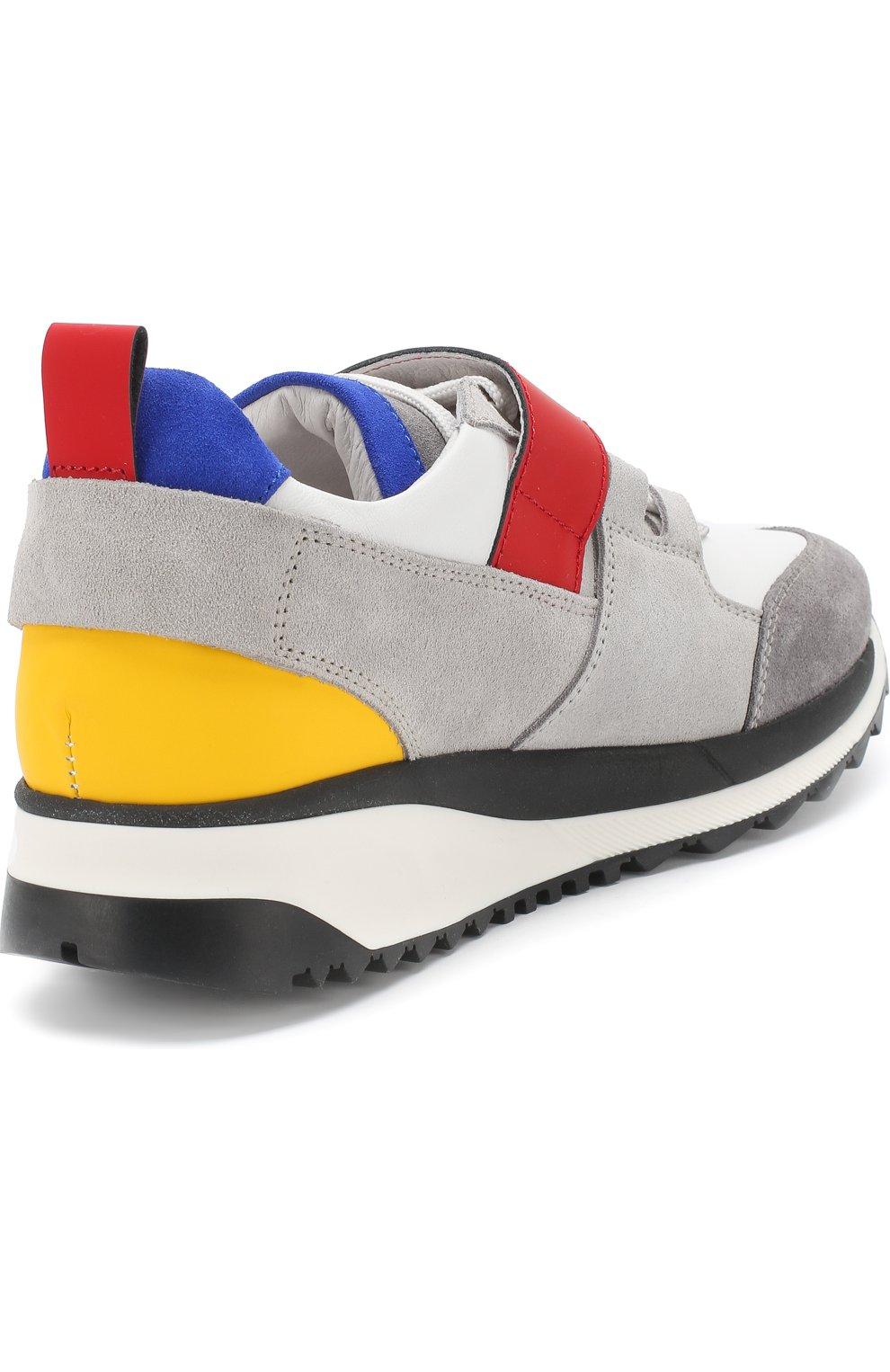 Кожаные кроссовки с замшевой отделкой и застежкой велькро | Фото №3