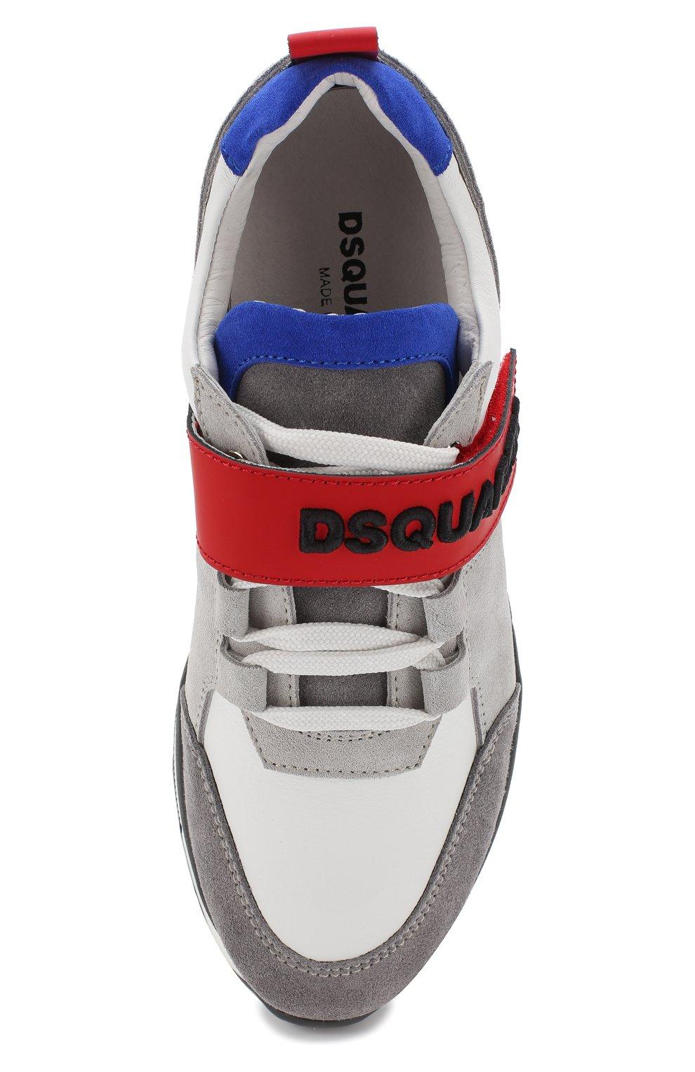 Кожаные кроссовки с замшевой отделкой и застежкой велькро | Фото №4