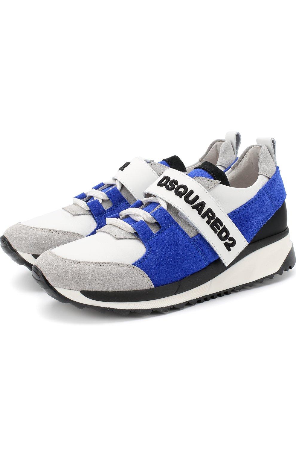 Детские кожаные кроссовки с замшевой отделкой и застежкой велькро DSQUARED2 синего цвета, арт. 54221/36-41 | Фото 1