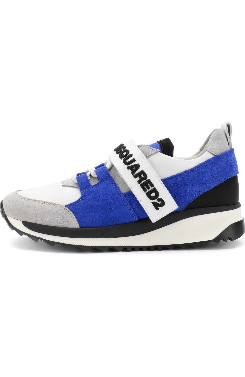 Детские кожаные кроссовки с замшевой отделкой и застежкой велькро DSQUARED2 синего цвета, арт. 54221/36-41 | Фото 2