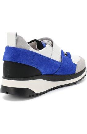 Детские кожаные кроссовки с замшевой отделкой и застежкой велькро DSQUARED2 синего цвета, арт. 54221/36-41 | Фото 3
