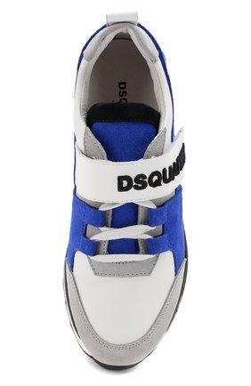 Детские кожаные кроссовки с замшевой отделкой и застежкой велькро DSQUARED2 синего цвета, арт. 54221/36-41 | Фото 4