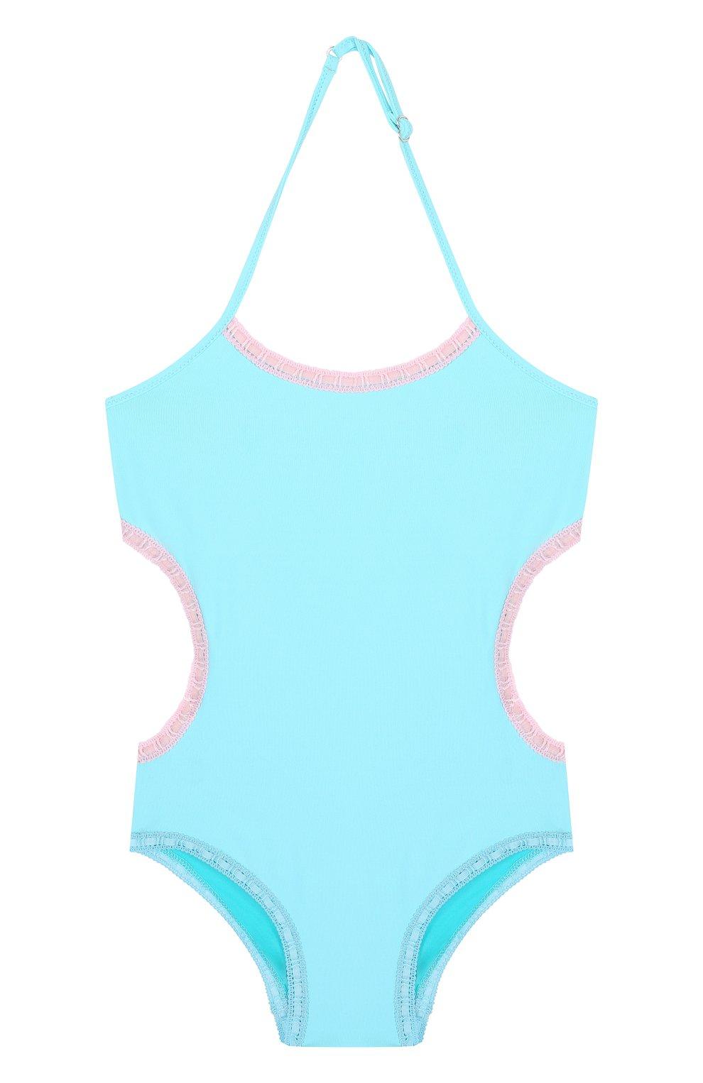 Детского слитный купальник с фигурным вырезом LA PERLA голубого цвета, арт. 67659/2A-6A   Фото 1