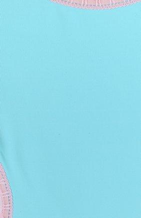 Детского слитный купальник с фигурным вырезом LA PERLA голубого цвета, арт. 67659/2A-6A   Фото 3