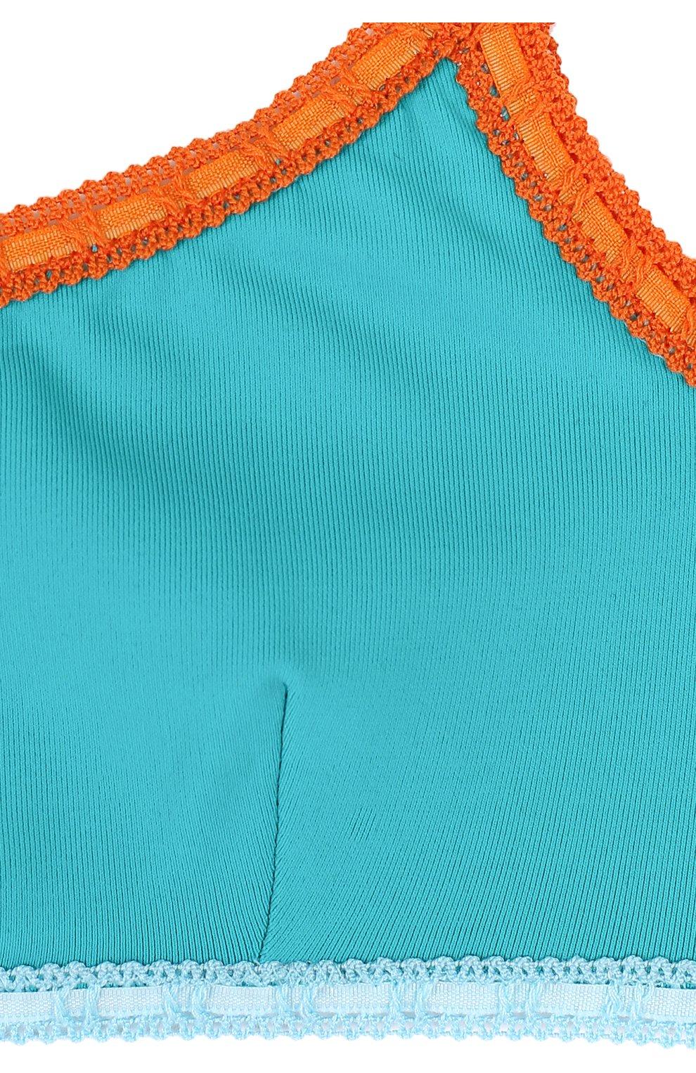 Детского раздельный купальник с бретелькой на одном плече LA PERLA зеленого цвета, арт. 67661/8A-14A | Фото 3