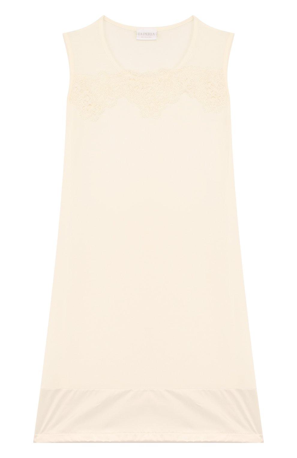 Детская сорочка из вискозы с кружевной отделкой LA PERLA бежевого цвета, арт. 51863/8A-14A | Фото 1