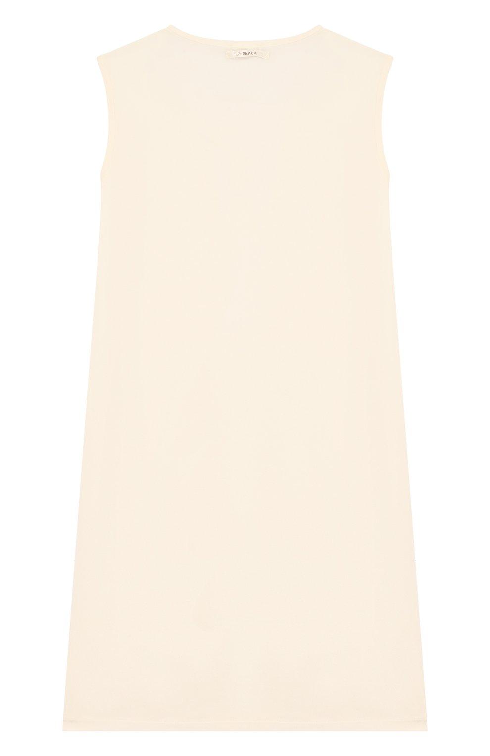Детская сорочка из вискозы с кружевной отделкой LA PERLA бежевого цвета, арт. 51863/8A-14A | Фото 2
