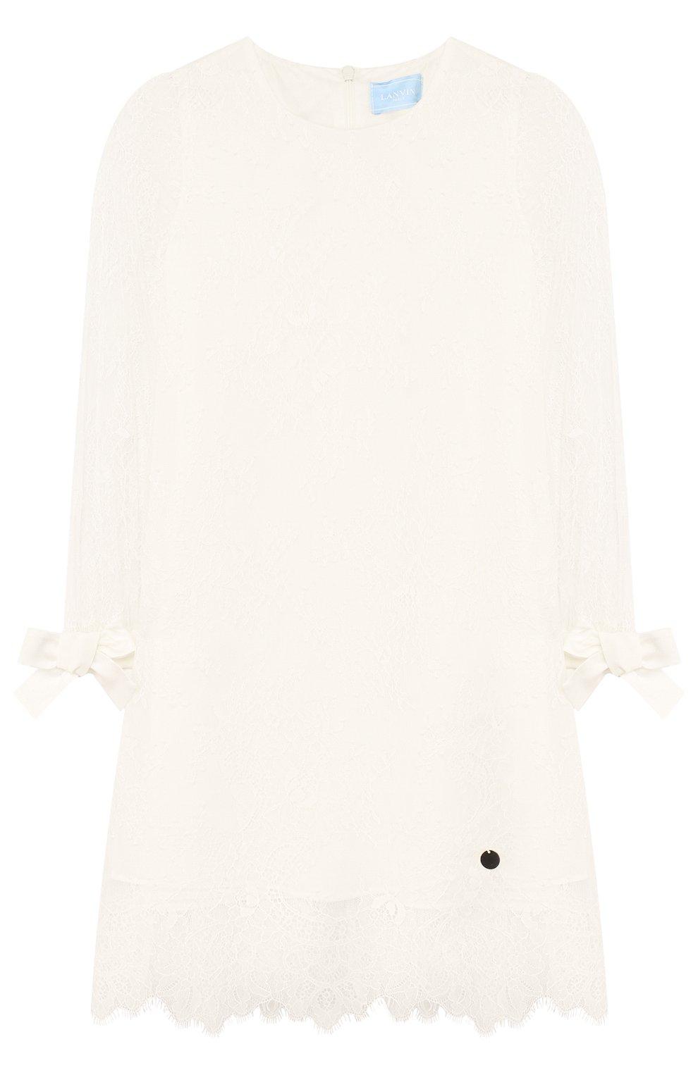 Кружевное платье прямого кроя с бантами | Фото №1