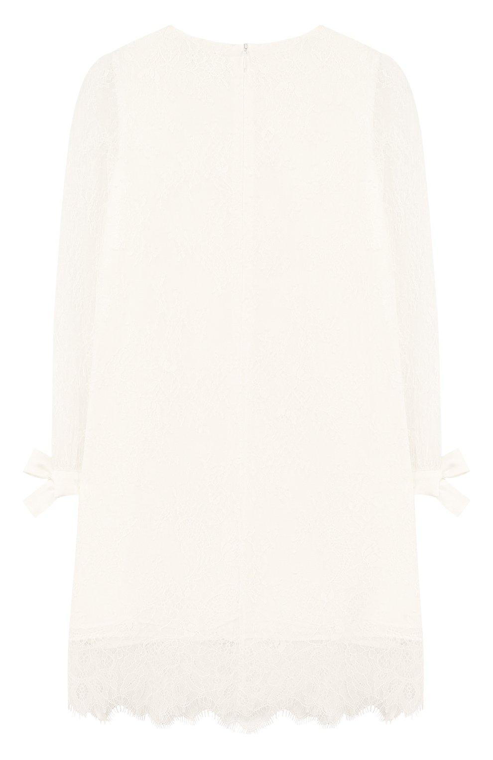 Кружевное платье прямого кроя с бантами | Фото №2