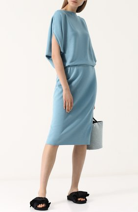Вязаное платье из смеси шелка и кашемира без рукавов Tse голубое | Фото №1