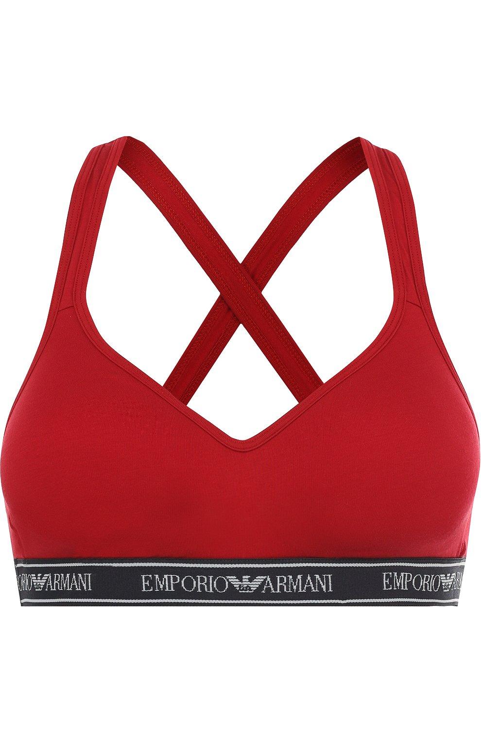Женский хлопковый бюстгальтер с логотипом бренда EMPORIO ARMANI красного цвета, арт. 163995/8P317 | Фото 1