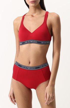 Женский хлопковый бюстгальтер с логотипом бренда EMPORIO ARMANI красного цвета, арт. 163995/8P317 | Фото 2
