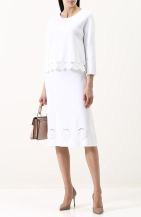 Однотонная юбка-миди из вискозы Tse черная | Фото №1