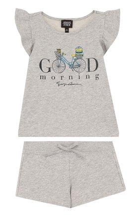 Детская хлопковый комплект из топа и шорт ARMANI JUNIOR серого цвета, арт. 3Z3V05/3JFAZ/4A-10A | Фото 1