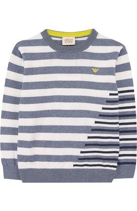 Хлопковый пуловер в полоску   Фото №1