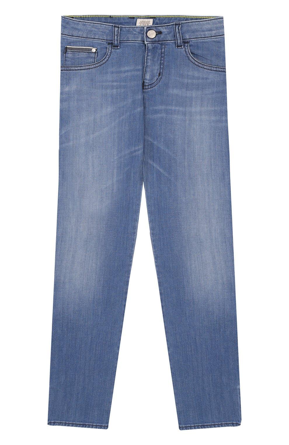 Детские джинсы с декоративными потертостями ARMANI JUNIOR синего ... de7dbc98292