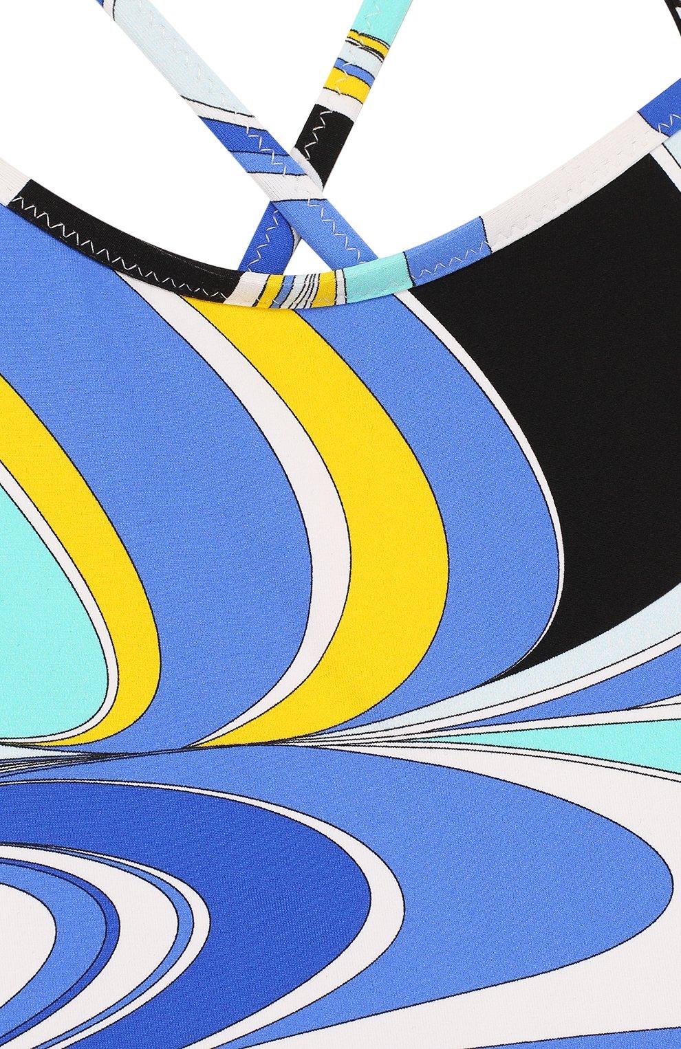 Детского слитный купальник с принтом EMILIO PUCCI голубого цвета, арт. 9I0089/IB690   Фото 3