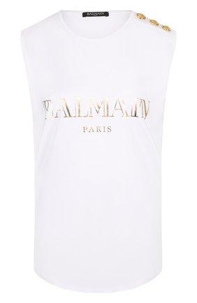 Женский хлопковый топ с круглым вырезом и логотипом бренда BALMAIN белого цвета, арт. 138105/326I   Фото 1