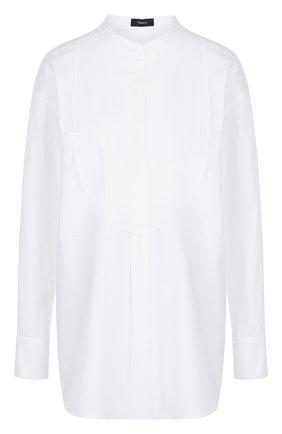 Однотонная блуза из смеси хлопка и эластана   Фото №1