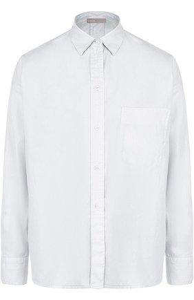 Однотонная блуза из смеси хлопка и шелка