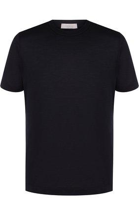 Шелковая футболка с круглым вырезом Cortigiani темно-синяя | Фото №1