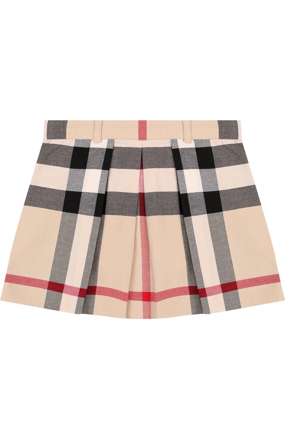 Хлопковая мини-юбка с принтом и защипами | Фото №1