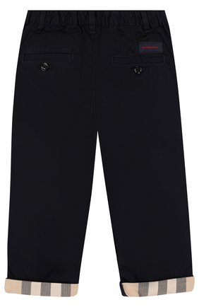 Детские хлопковые брюки BURBERRY темно-синего цвета, арт. 4063390 | Фото 2