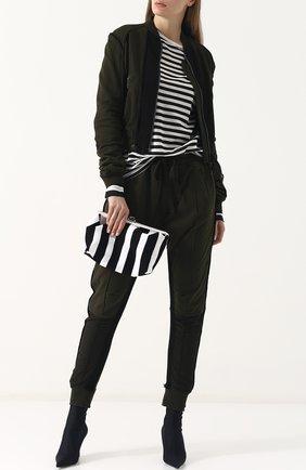 Вязаный пуловер в контрастную полоску Haider Ackermann черно-белый | Фото №1