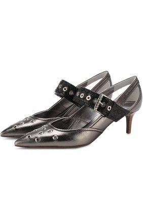 Туфли из металлизированной кожи на каблуке kitten heel | Фото №1