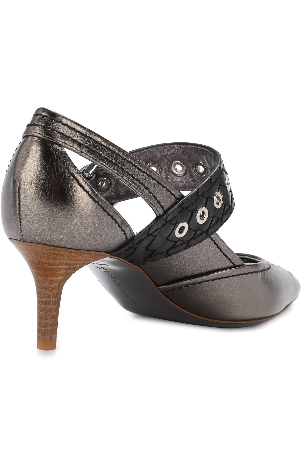 Женские туфли из металлизированной кожи на каблуке kitten heel BOTTEGA VENETA серебряного цвета, арт. 512136/VAVG6 | Фото 4