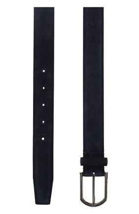 Мужской замшевый ремень с металлической пряжкой ERMENEGILDO ZEGNA темно-синего цвета, арт. BSUEX2/9CA1 | Фото 2