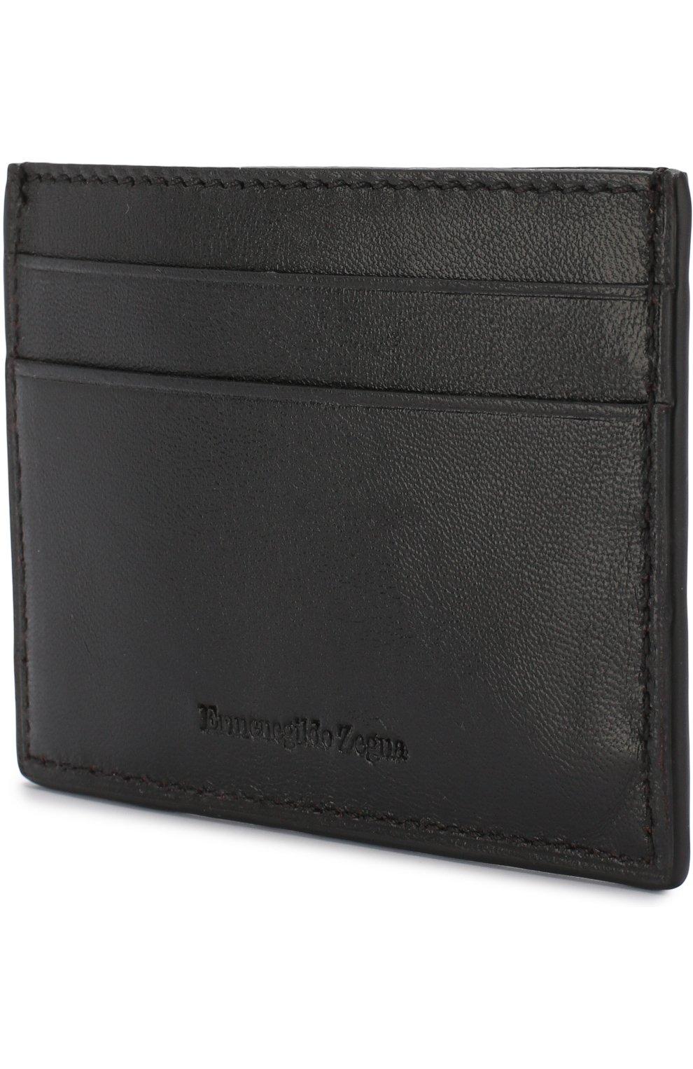 Мужской кожаный футляр для кредитных карт ERMENEGILDO ZEGNA черного цвета, арт. E1259T-AFR | Фото 2