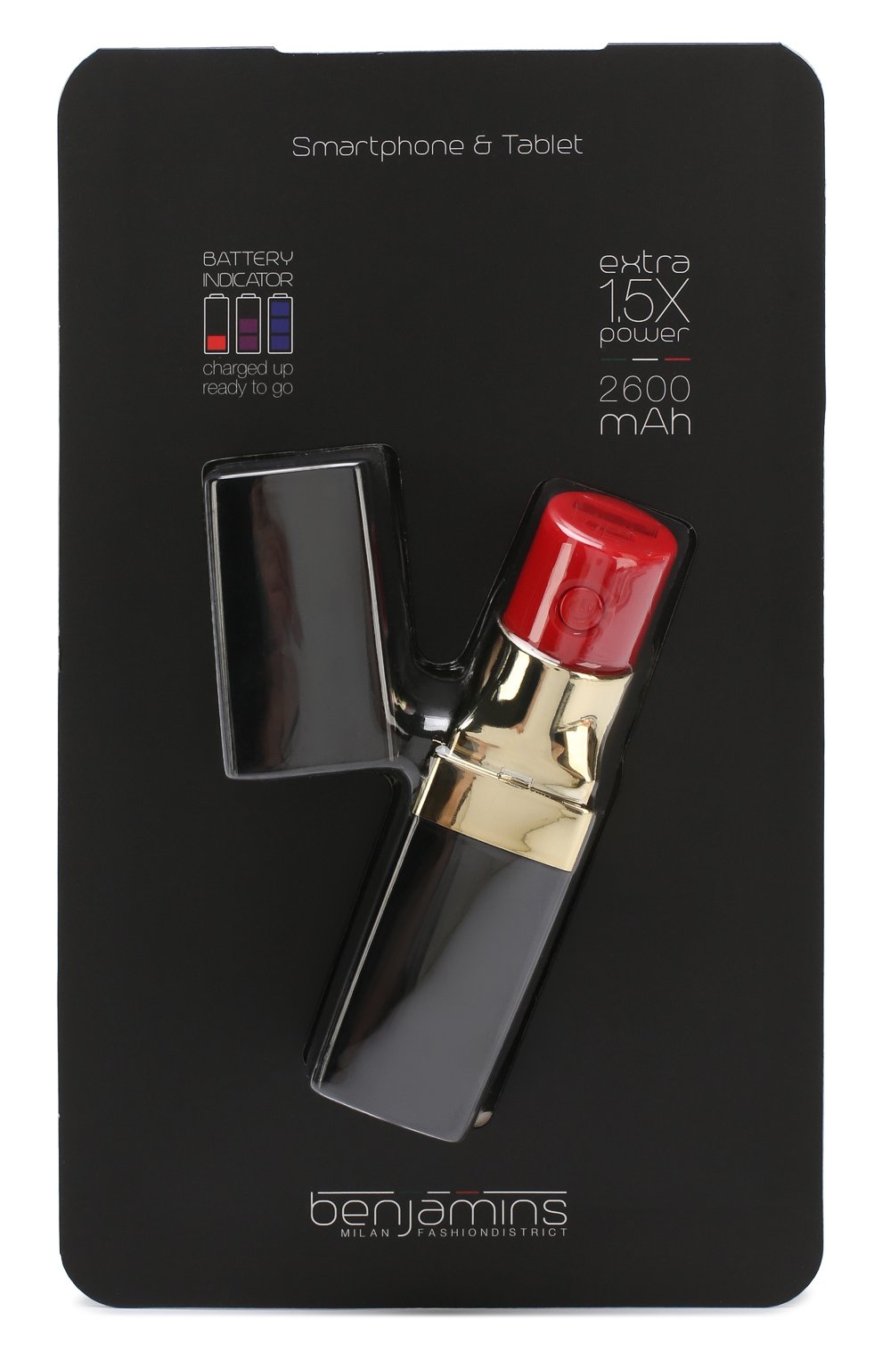 Мужского портативный аккумулятор BENJAMINS черного цвета, арт. BJBLIPK | Фото 1