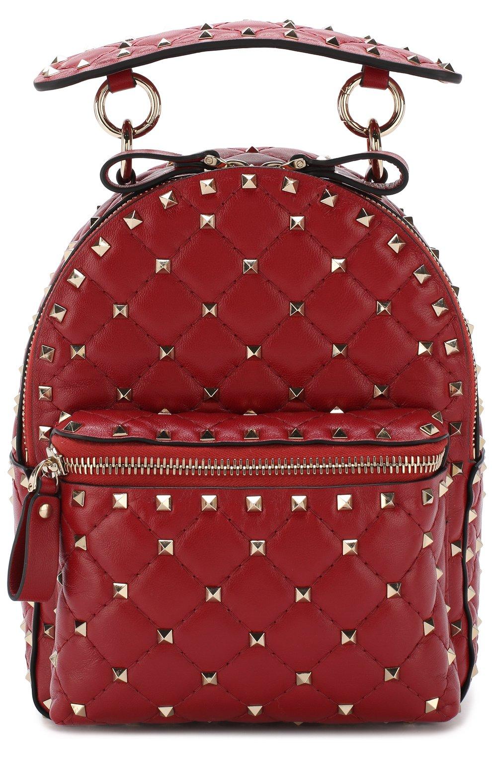 Женский рюкзак valentino garavani rockstud spike mini VALENTINO красного цвета, арт. PW0B0B63/NAP   Фото 1