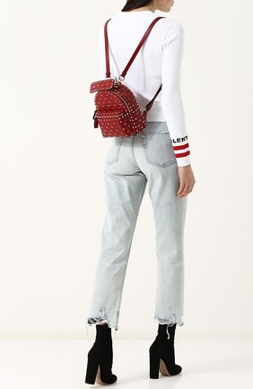 Женский рюкзак valentino garavani rockstud spike mini VALENTINO красного цвета, арт. PW0B0B63/NAP | Фото 2